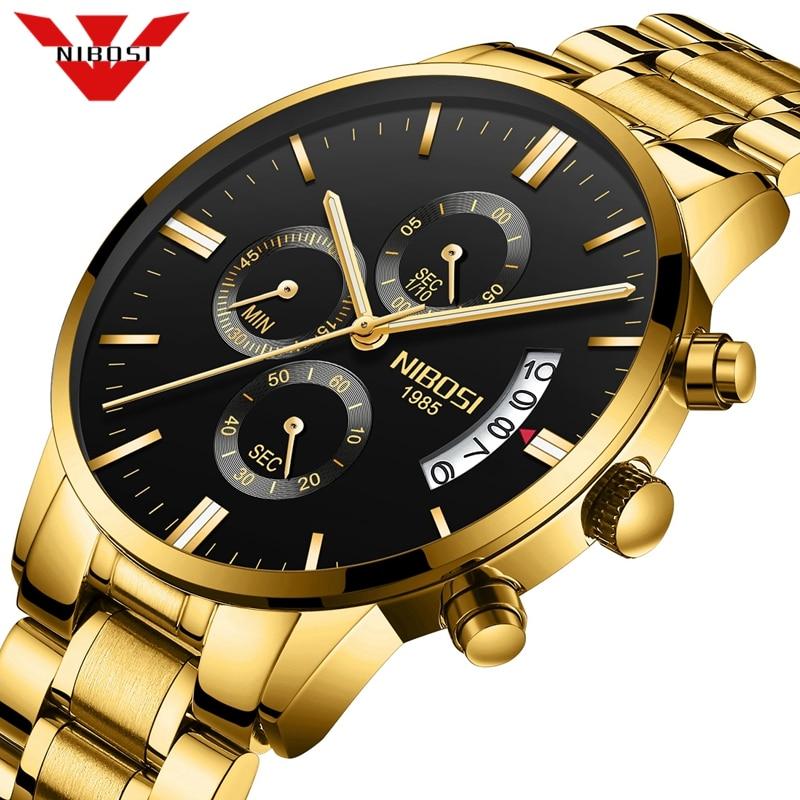 Nibosi relogio masculino relógios masculinos de luxo famosa marca de topo moda masculina casual vestido relógio militar quartzo relógios de pulso saat