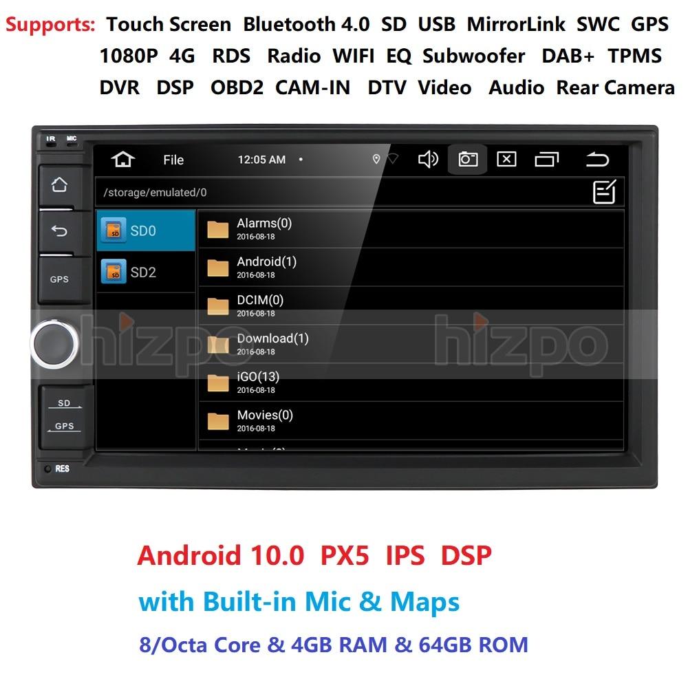 4g ram 64g rom octa núcleo android 10 auto rádio quad core 7 Polegada 2din carro nenhum dvd player gps estéreo áudio unidade principal dab dvr obd bt