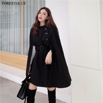 Woolen Shawl Cape Poncho Jacket Women Elegant High Quality Caramel Outerwear Ladies Solid Large Coat 2020 Fall New Korean 1