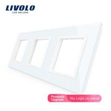 Livolo Luxury White Pearl Crystal Glass,EU standard, Triple Glass Panel For Wall Switch&Socket,VL-C7-SR/SR/SR-11