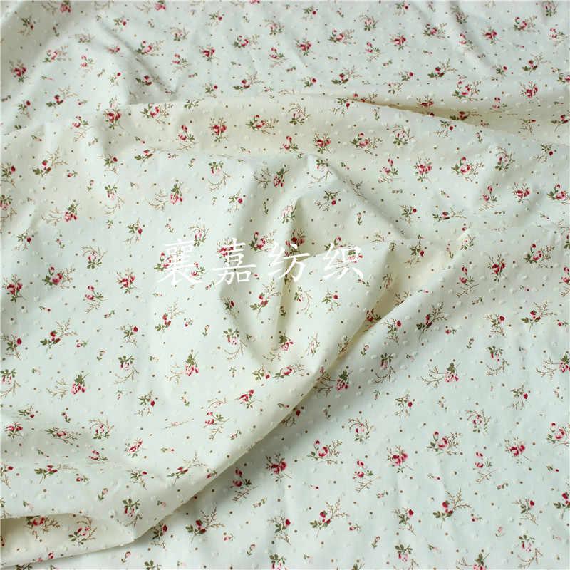 150 × 50 センチメートルスモールフローラルコットンポルカドットカット生地作り子供服の女性のブラウススカート布
