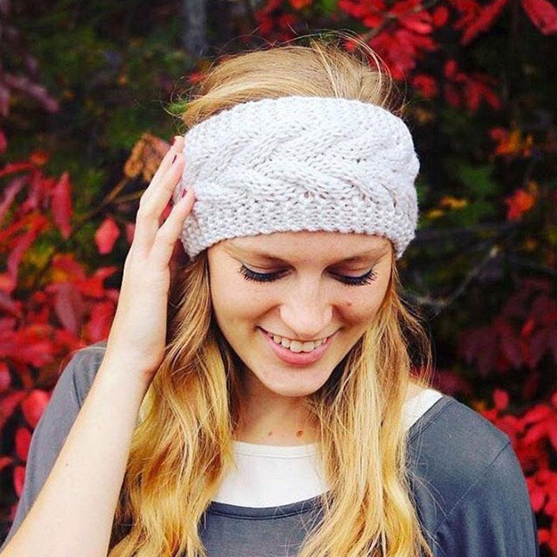 32 Colors Winter Warm Solid Knitting Headbands for Women Lady Wool Crochet Hairband   Headwear   Wide Bandana Turban Accessories