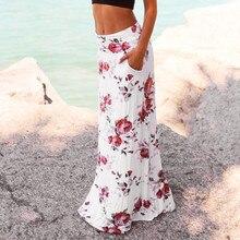 цена на Casual Bohemia floral print skirt Vintage Women Summer Beach Floral Prints Skirt Low Waist Long Skirt elegant beach maxi Z326
