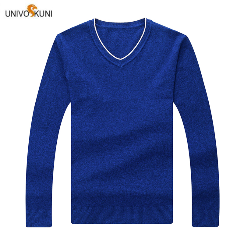 UNIVOS KUNI 2019Men's Sweater New Arrive Spring And Autumn Solid Color  Pllovers  Business Fashion Slim 2017