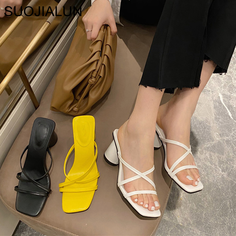 SUOJIALUN 2020 Summer Women Med Heel Slipper Fashion Narrow Band Sandal Square Heel Vacation Beach Flip Flops Slides Shoes