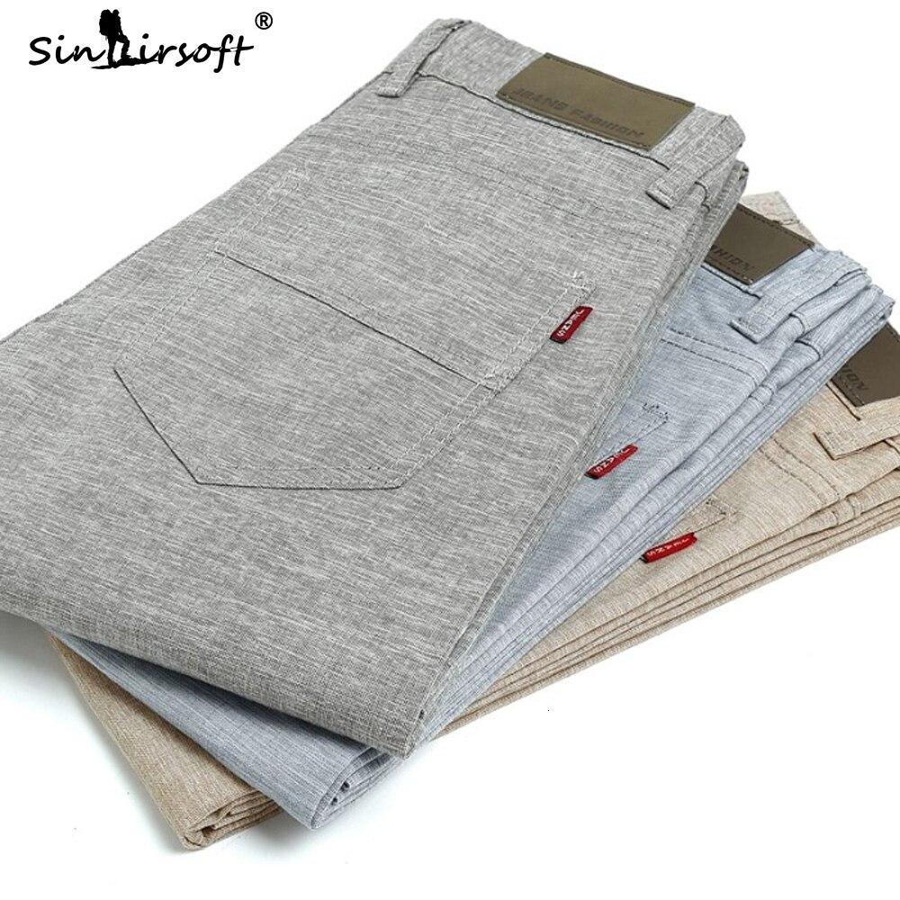 Soild Color Full-length Pants Men's England Style Casual Streetwear Summer Straight Pants Male Slim Fit Breathable Harlan Pants