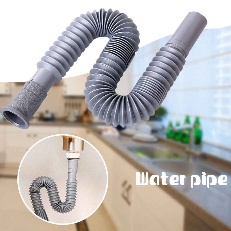 Plastic Flexible Drain Hose For Kitchen Basin Strainer Sink Outlet Extension