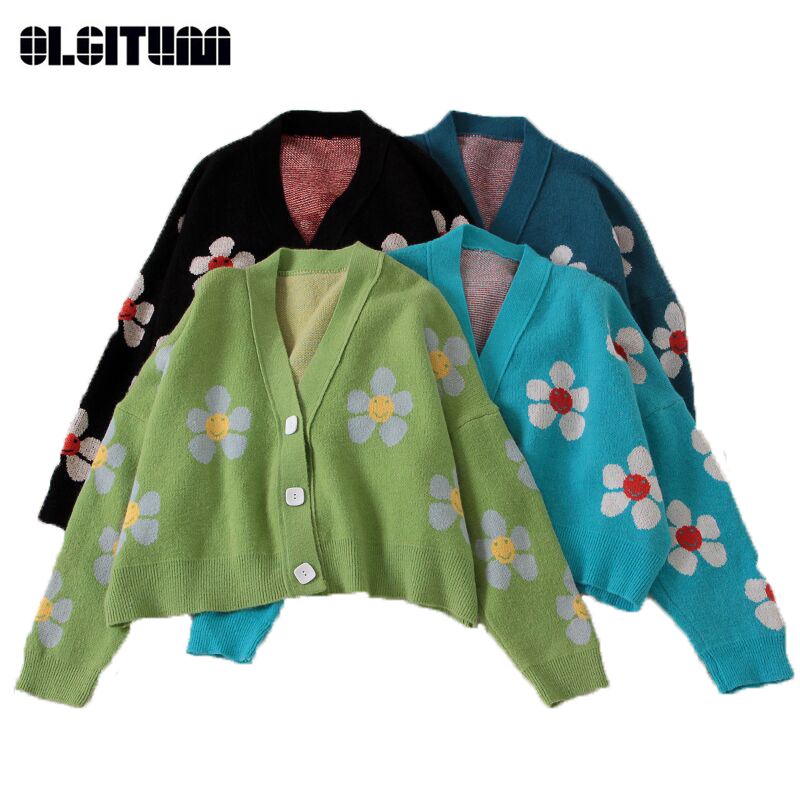 Women Spring College Style Flower Print 2020 Loose Vintage Knitted Doat V-neck Sweater Light Green Cardigan Blouse Short Section