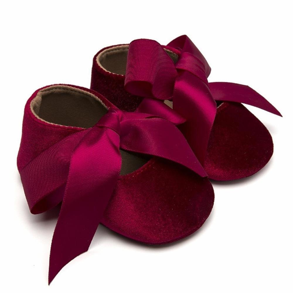 Newborn Girls Bow Tie  Solid Princess Cute Toddler Shoes Toddler Girls Princess Shoes Baby First Walker Shoes RL2