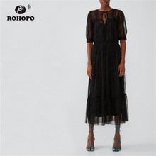 ROHOPO Double Layer Mesh Polk Dot Black Midi Dress High Waist Maxi Tulle Multiways Vestido #2161