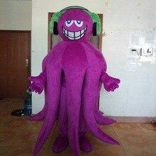 Забавный фиолетовый костюм талисмана осьминога; костюмы для косплея; вечерние костюмы для игр; одежда с героями мультфильмов; костюм на день рождения, карнавал, Хэллоуин