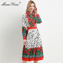 MoaaYina Fashion Designer dress Spring Autumn Womens Dress Long sleeve Beaded Dots Floral Print Pleated Dresses