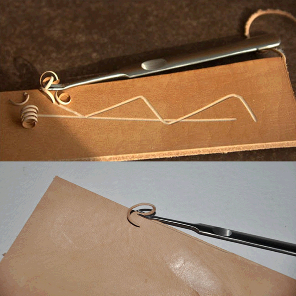 2 PC Hot Selling Leather Leathercraft Stitching U V Shaped Groover Skiving Edge Beveler Tool Kit M20 in Punching from Home Garden