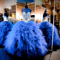 2020 Royal Blue Quinceanera Dresses Cascading Ruffles Tulle Junior Beaded Crystal Sweet Sixteen Long Prom Gowns Pageant Dress