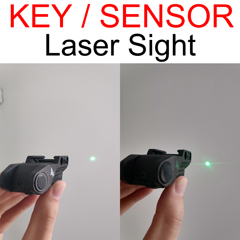 Tactical Momentary Sensor Green Laser Pointer Red Dot Sight for Pistola Airsoft Guns 20mm Rail Mount Handgun Green Laser Sight