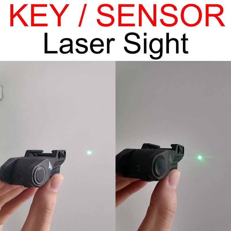 tactical momentaneo sensor ponteiro laser verde ponto vermelho vista para pistola airsoft armas 20mm montagem em