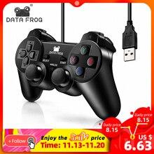 Veri kurbağa titreşim Joystick kablolu USB PC denetleyicisi için PC bilgisayar Laptop için WinXP/Win7/Win8/Win10 için vista siyah Gamepad