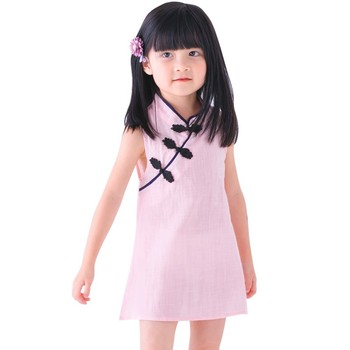 Girls Chinese Cheongsam Princess Dress Baby Summer Girls Floral Embroidery Clothes Kids Sleeveless Cotton Chinese Style Clothing image