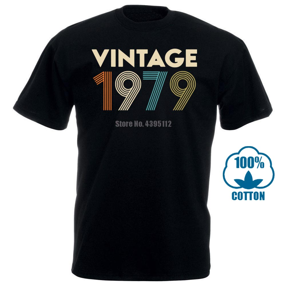 Vintage 1979 Men T Shirt Black Cotton S 4Xl
