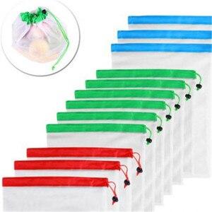 Image 2 - Sacs réutilisables pour fruits et légumes, lavables, sacs en mailles écologiques pour épicerie, rangement de jouets pour fruits et légumes, 1 unité