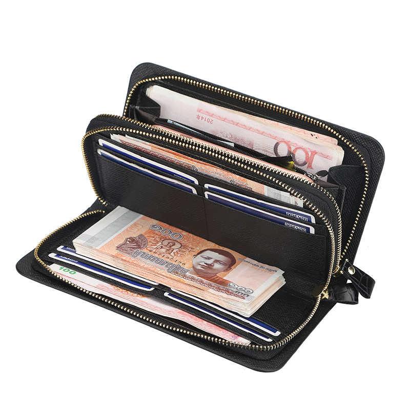 Nowy portfel męski wielofunkcyjny długi telefon torba biznes krokodyl wzór retro kopertówka portfel męski z kieszonką na monety mężczyźni torebka