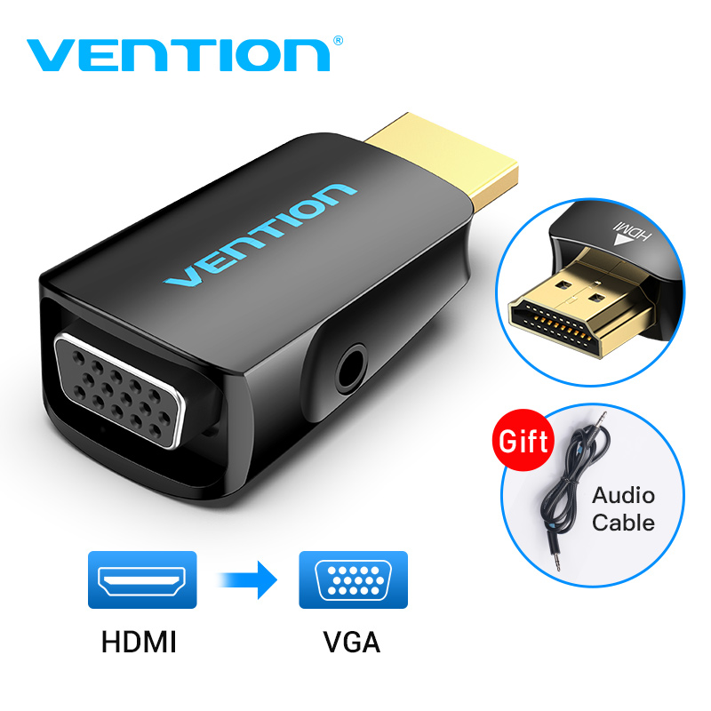Vention HDMI to VGA Adapter HDMI Male to VGA Felame HD 1080P Audio Cable Converter With 3.5 Jack for PS4 Laptop PC Box Projector|HDMI Cables|   - AliExpress
