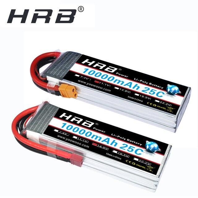 Аккумулятор HRB RC Lipo 2S 3S, 10000 мА/ч, для радиоуправляемого вертолета, беспилотника XT60, 6S, 7,4 В, 11,1 В, 14,8 в, 22,2 в, в, 25C MAX, 50C, XT60 T