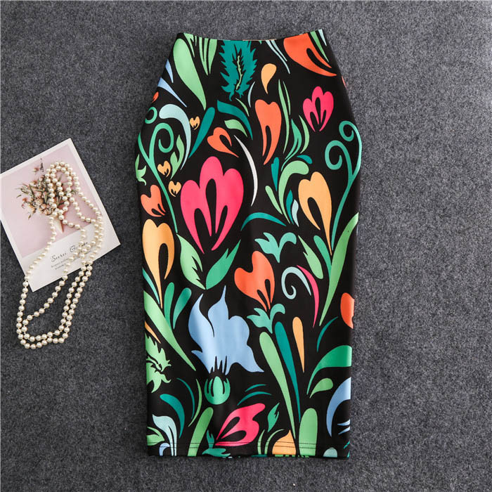 2019 Women Skirts Summer Knee-Length Print Skirt Flowers Pencil Casual Skirts Plus Size Faldas Mujer Moda Jupe Femme