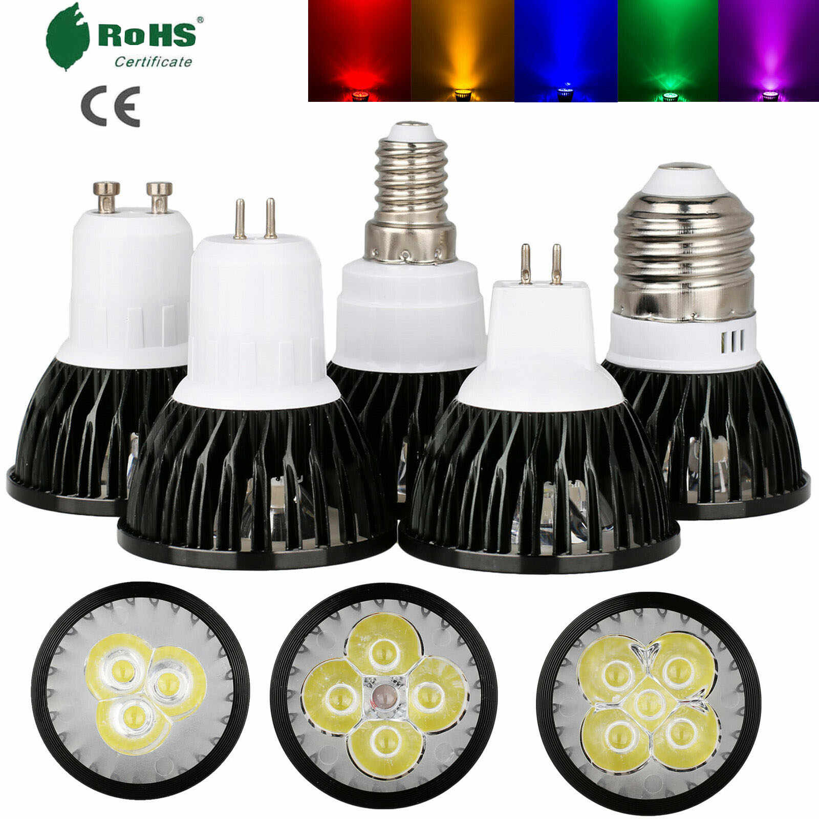 LED Lampada 9W 12W 15W GU10 MR16 GU5.3 E27 E26 E12 LED Bulb 85-265V 12V  Led Spotlight Red Yellow Blue Green Purple LED Lamp