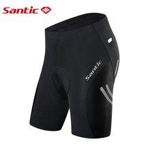 Santic calções de ciclismo masculino 4d acolchoado reflexivo bicicleta wear pro ajuste anti-suor secagem rápida respirável à prova de choque roupas