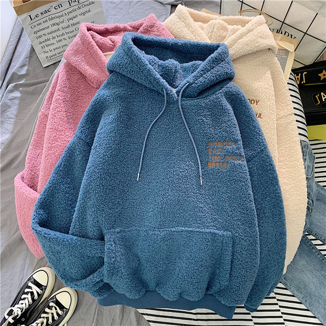 Autumn Winter Coat Pink Sweet Hooded Sorry Print Harajuku Loose Pocket Hoodies Womens Fleece Flannel Pullover Female Sweatshirt 6