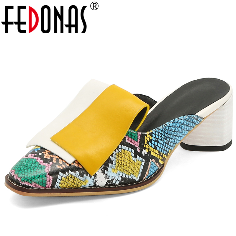 FEDONAS Spring Summer New Fashion Mature Women Wedding Casual Shoes Snake Pattern Mixed Colors Thick Heel Slingbacks Shoes Woman