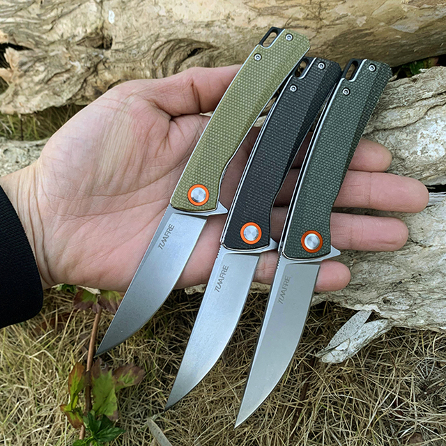 High hardness TUNAFIRE stone wash pocket knife D2 blade High-end linen handle outdoor camping utility hiking  tool knife 1
