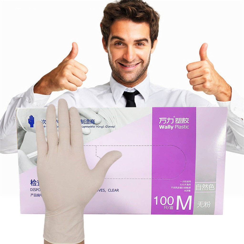 100PCS*2 Disposable Latex Gloves White Non-slip Acid And Alkali Laboratory Rubber Latex Gloves Household Cleaning Products