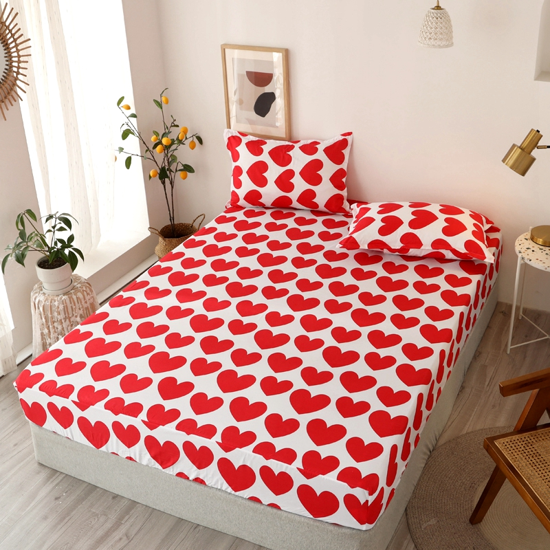 Bonenjoy 3 pcs Fitted Bed Sheets Single drap de lit Geometric Pattern Stitching Mattress Cover with elastic For Double Bed Sheet 26