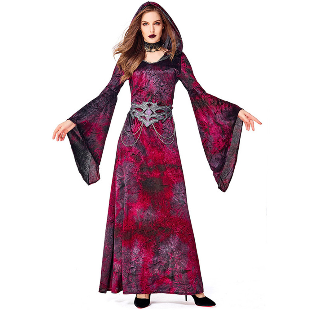 <font><b>Halloween</b></font> Cosplay <font><b>Sexy</b></font> <font><b>Adult</b></font> Women's <font><b>Halloween</b></font> Costume Party wine red <font><b>witch</b></font> vampire Cosplay hooded Dresses image