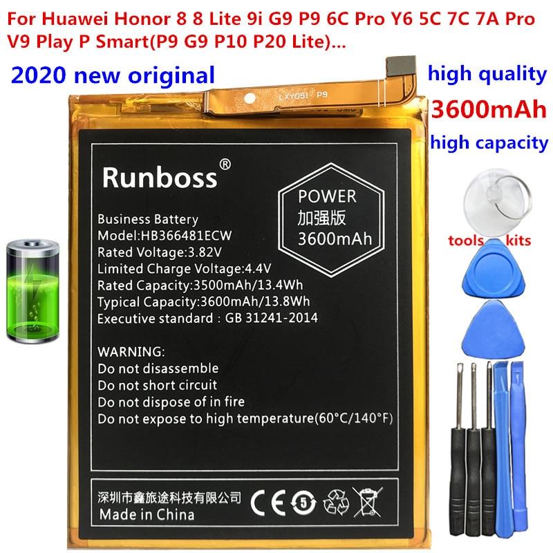 2020 New Original HB366481ECW 3600mAh Battery For Huawei Honor 6c Pro V9 Play JMM-L22 Y6 2018 / Y6 Prime 2018 Y7 2018 P9 G9 5C