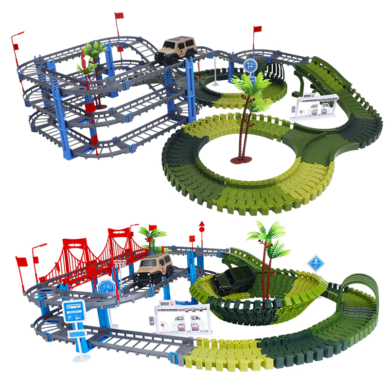 Army Race Track Dinosaur Toys Create A Road Military Diecast Flexible Track Glowing Race Track Bend Flash In The Dark Car Toy