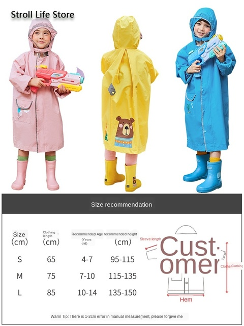 Cuet Students Boy Raincoat Kids Yellow Long Rain Poncho Pink Girl Children Rain Coat Jacket Rain Cover Capa De Chuva Gift Ideas 3