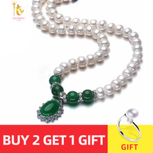 NYMPH pearl necklace jewlery Green agate natural pendant jewelry for Mother X1213(China)