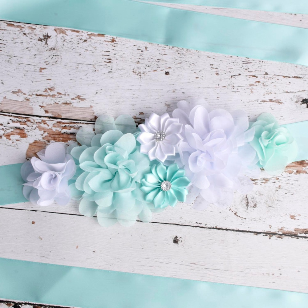 Boutique Turquoise Maternity Sash Belt Pregnancy Belly Belt Baby Shower Party Belt Wedding Flower Sash Mom To Be