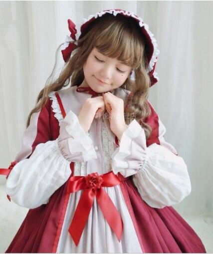 Vintage Ngọt Ngào Lolita Đầm Tay Phồng Cao Cấp Victoria Dễ Thương Kawaii Gril Gothic Lolita Áo Có Nón OP Cos LOL