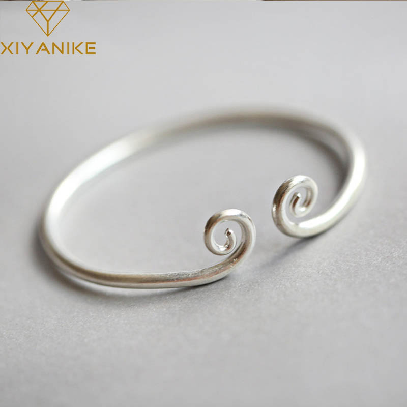 XIYANIKE Newly Arrived 925 Sterling Silver Creative Geometric Bracelets & Bangles Charm Women Wedding Party Jewelry Adjustable
