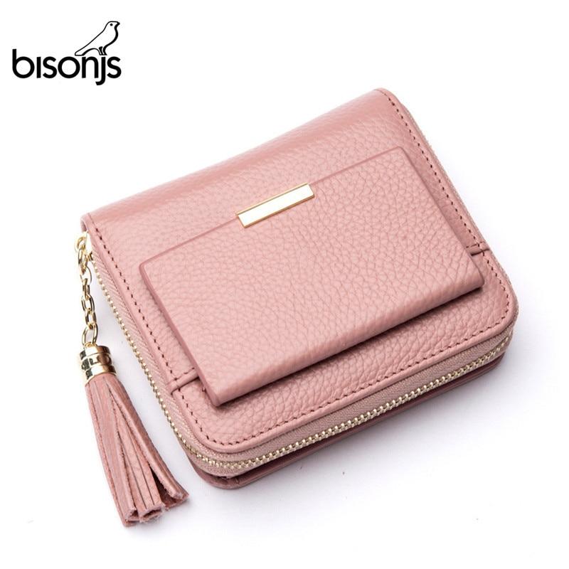 BISON DENIM 100% Leather Women's Purse Zipper Coin Pocket Wallet Card Holder Female Money Bag Small Carteira Feminina B3276