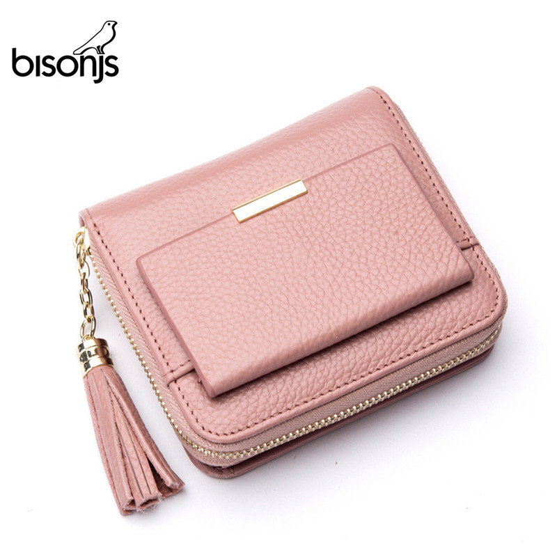 BISON DENIM 100 Leather font b Women s b font Purse Zipper Coin Pocket Wallet Card