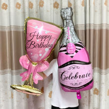 Balão de hélio grande taça de champanhe balão decorações de festa de aniversário de casamento adulto crianças balões globos fontes de festa de evento.