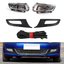 Car Front Bumper Fog Light Grilles Assembly Cable and Bulbs For-Polo 6R 2009-2013