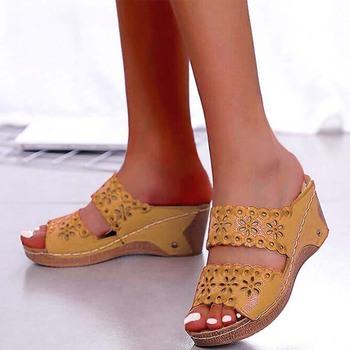 Buty sandały damskie na buty na plażę Slip On Fashion sandały gladiatorki damskie grube dno obuwie sandały na płaskim obcasie kobieta Plus rozmiar tanie i dobre opinie HAJINK Podstawowe Kliny Otwarta RUBBER Med (3 cm-5 cm) Na co dzień Slip-on Pasuje prawda na wymiar weź swój normalny rozmiar