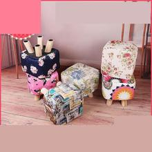 Cloth Shoes Changing Stool Short Multifunctional Thickened Solid Wood Sofa Bedroom Living Room Laundry Decor
