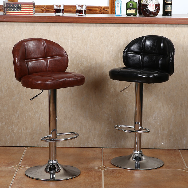 European-Style Bar Chair Lift Spinning Chair Backrest High Stool Front Desk Cash Storage Chair Manicure Beauty Household Wu Ting